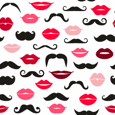 lip kiss: Ladies and gentlemen seamless pattern.