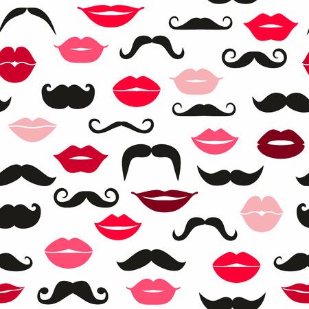 lip kiss: Ladies and gentlemen seamless pattern.