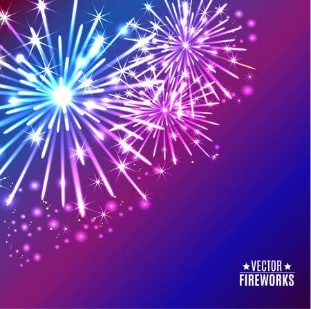 silvester: Vector Illustration of Fireworks Illustration