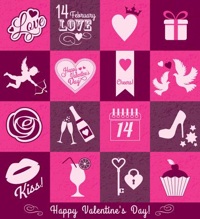 Valentine set background Vector