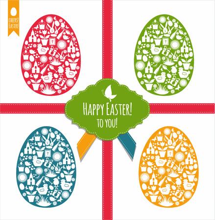 catholic symbols: Easter eggs set.