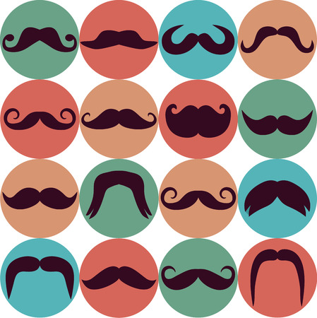 whisker characters: Moustaches set. Design elements.Seamless pattern.