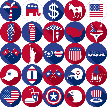 graphics design: Set of various icon USA graphics design