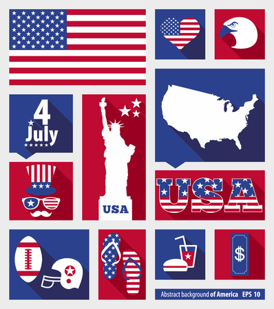 july 4th fourth: American design elements Illustration