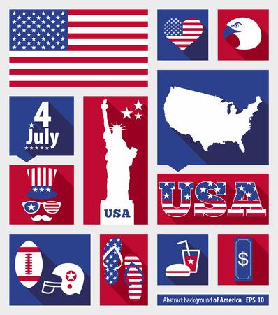fourth of july: American design elements Illustration