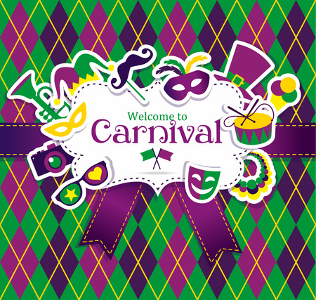 mardi gras mask: Bright vector carnival icons and sign Welcome to Carnival