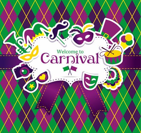 mascaras de carnaval: Iconos carnaval vector brillantes y firmar Bienvenidos al Carnaval