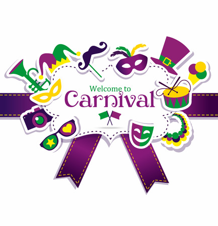 gras: Bright vector carnival icons and sign Welcome to Carnival