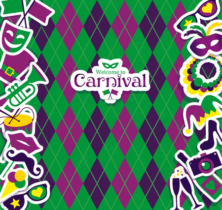 background light: Bright vector carnival icons and sign Welcome to Carnival.