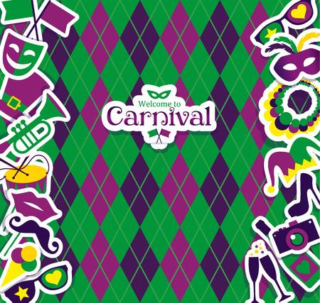 fondo geometrico: Iconos carnaval vector brillantes y Cartel de bienvenida al Carnaval.