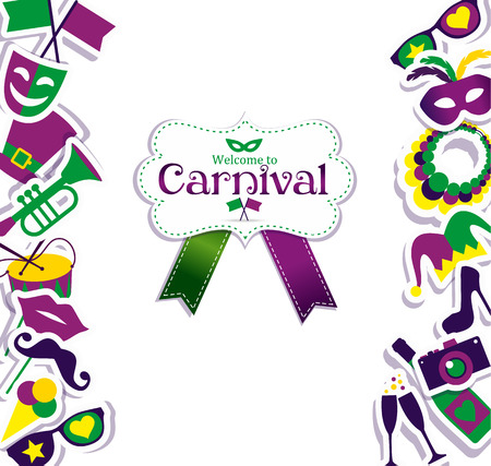 Bright vector carnival icons and sign Welcome to Carnival.