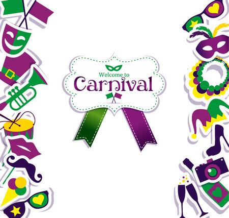 mascaras de carnaval: Iconos carnaval vector brillantes y Cartel de bienvenida al Carnaval.