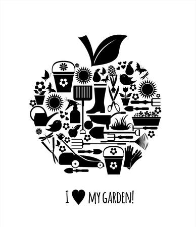 Icônes illustration jardin Banque d'images - 36911645