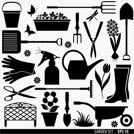 herramientas de trabajo: Aldea herramientas icono conjunto