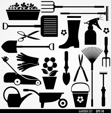 watering garden: Village tools icon set