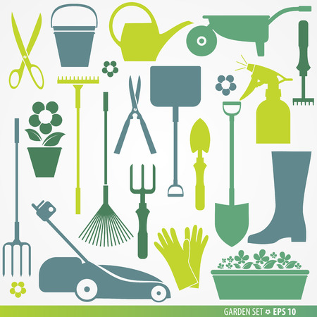 autumn garden: Garden tools set