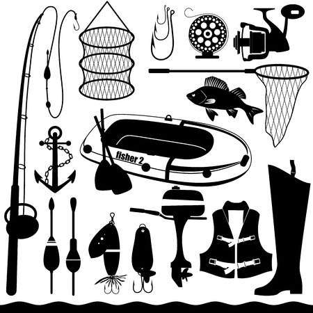 Fishihg conjunto de iconos. Foto de archivo - 36992912