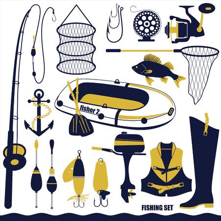 fishing net: Fishing icon set.Vector illustration. Illustration