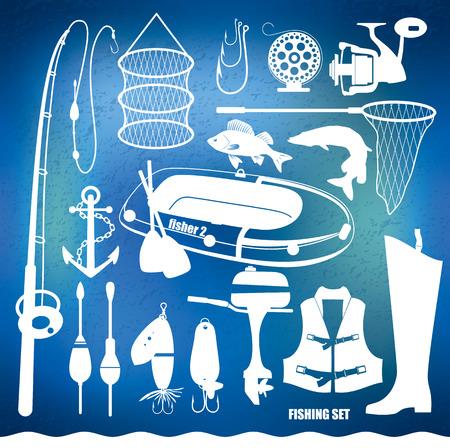 pleasure boat: Fishing icon set.Vector illustration. Illustration