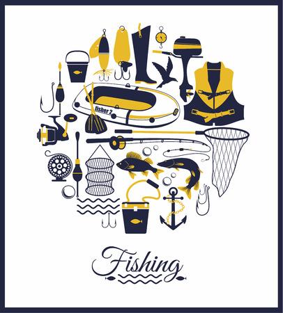 fishing net: Fisning icon set. Illustration