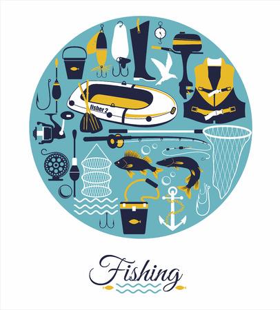 fisherman boat: Fishing background