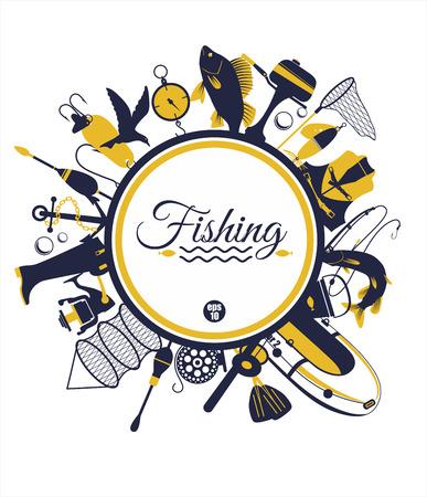 釣りの背景  イラスト・ベクター素材