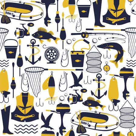 Fishing background. Seamless pattern.