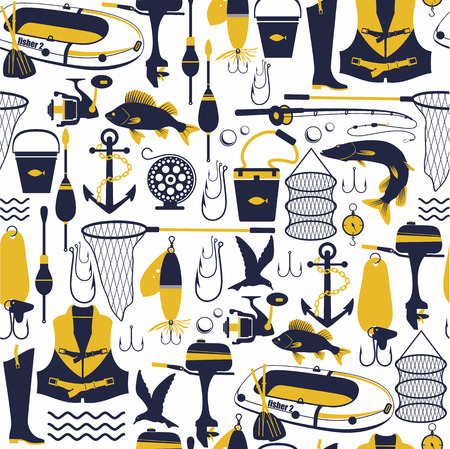 Fishing background. Seamless pattern.