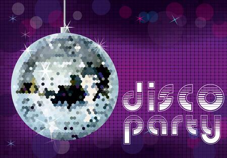 night club interior: Disco party background. Disco ball vector illustration.