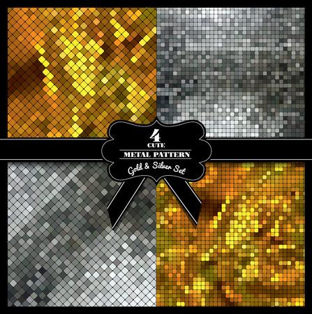 luxo: Textura metálica. Jogo do vetor Ilustração