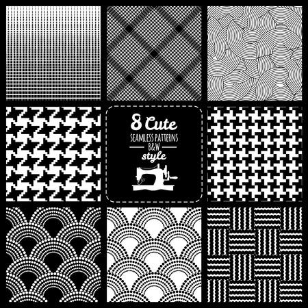 Seamless set fabric pattern Illustration