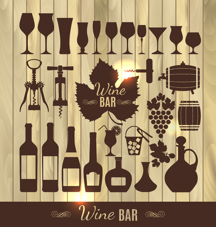 stopper: Wine set icon. Illustration