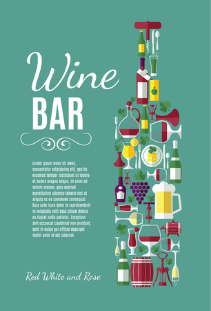 stopper: Vine flat background. Wine bar composition.