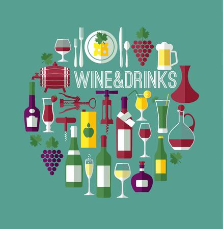 Vine flachen Hintergrund. Wine Bar Zusammensetzung.