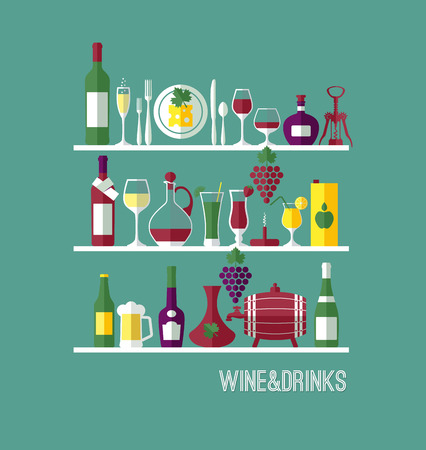 mulled wine: Vine flat background. Wine bar composition.