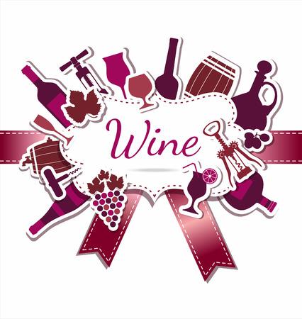 botella de licor: Menú de vinos. Resumen de antecedentes. Estilo Flat.