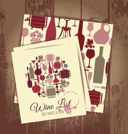 Vin carte de menu et le vin pattern.Wine transparente fixée pour la conception de la vôtre.