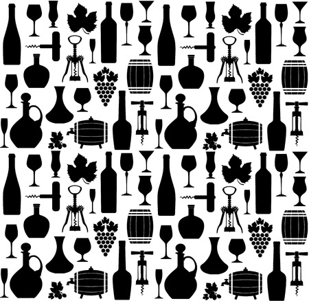 Wine seamless pattern Vectores