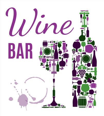 Wine menu background. Vector stock illustratio. Card menu.