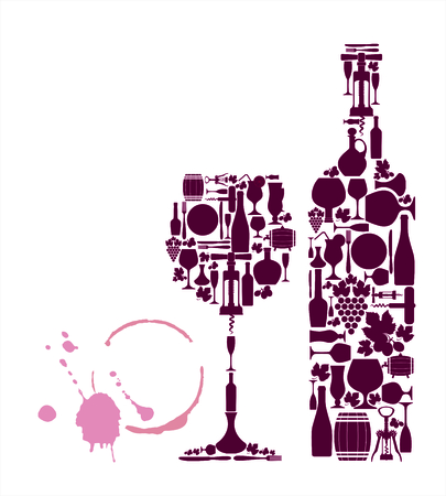 sektglas: Weinkarte Hintergrund. Vector stock illustratio. Menü Karte.