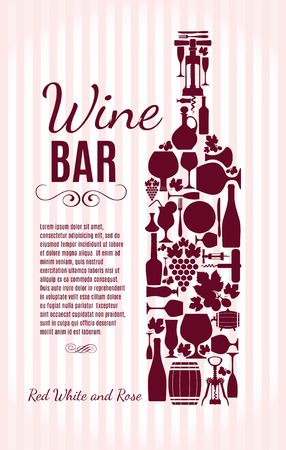 wine label design: Wine menu background. Vector stock illustratio. Card menu.
