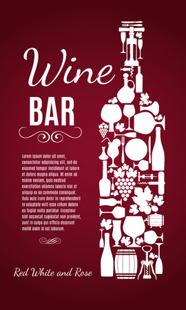 glass with red wine: Wine menu background. Vector stock illustratio. Card menu.