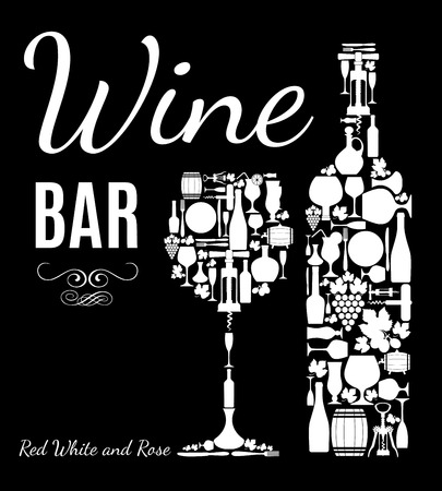 wine bar: Wine menu background. Vector stock illustration. Card menu.