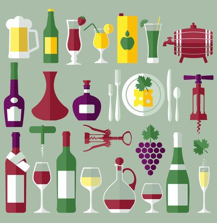 botella de licor: Vino establecer iconos planos Vectores