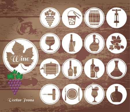 stopper: Wine icons set. Vector stock illustration.