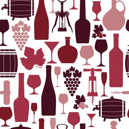 bouteille de vin: modèle de conception sans couture de vin. Vector illustration