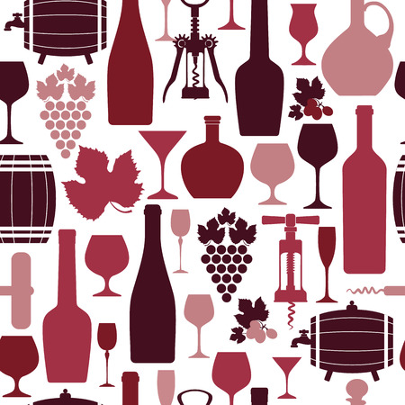 Wine seamless design pattern. Vector stock illustration