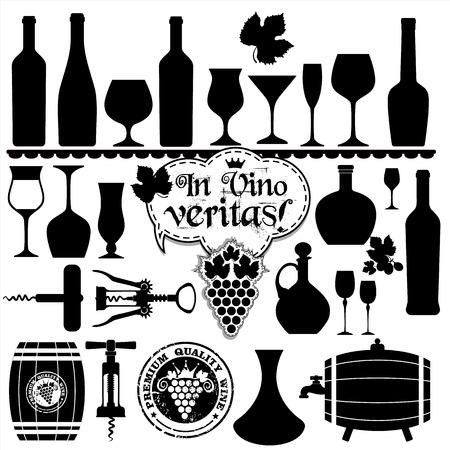 Iconos Set de vino de diseño. Vector de la ilustración. Foto de archivo - 37824516