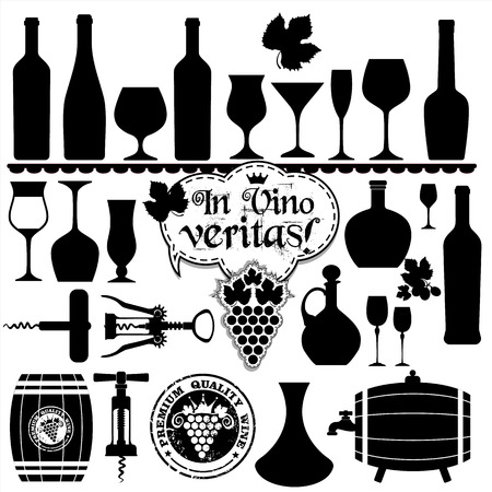 Wine icons design set. Vector stock illustration.