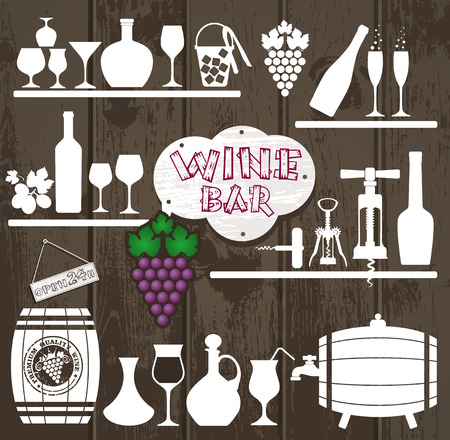 stopper: Wine icons design set. Vector stock illustration.